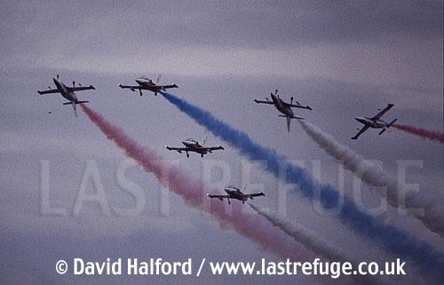 Aero L-39s x6 of Slovak Air Force's White Albatrosses team flying / Royal International Air Tattoo (RIAT) / RAF Fairford / July 1998