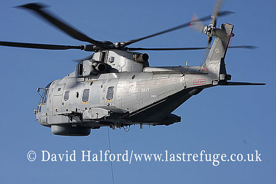 Anti-submarine: AgustaWestland Merlin HM.1 (ZH828-CU) + dipping sonar, FOST demo, English Channel, Devon, U.K., 2