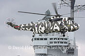 Large military transports: Westland Sea King Mk.4X (ZF115-R) landing on HMS Illustrious, Greenwich, London, U.K., 7th May 20