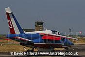 Dassault-Breguet/Dornier Alphajet (3) of the French Air Force's Patrouille de France taxying, Cazaux Air Base, Landes, France - June 2005