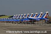 Dassault-Breguet/Dornier Alphajets of the French Air Force's Patrouille de France, Cazaux Air Base, Landes, France - June 2005