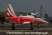Northrop F-5E Tiger II of Patrouille Suisse taxying, Cazaux, June 2005
