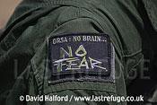 Military personnel badge 'No brain, No fear', Cazaux, June 2005