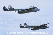 De Havilland Vampire FB.50s x2 (F-AZOP+F-AZOO) flying / Evreux Air Force Base, France - June 2003