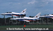 Aero L-39s x3 of Slovak Air Force's White Albatrosses team taking off / Royal International Air Tattoo (RIAT) / RAF Fairford / July 1998