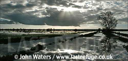 Panorama: Flooding of fields on the Somerset Levels, UK