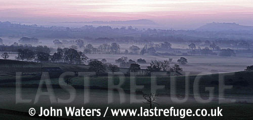 Panorama: Misty Dawn, Farming countryside near Wells, Somerset, UK