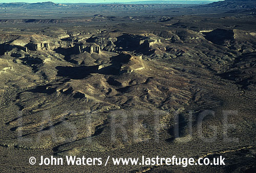 Aerial view: Eroded volcanic landscape, Patagonia, Argentina