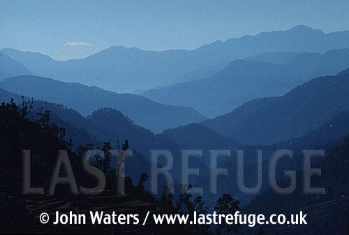 Mountains, Nepal, Asia, Looking south along valley of Modi Khola, near Landrung, Nepal, Asia