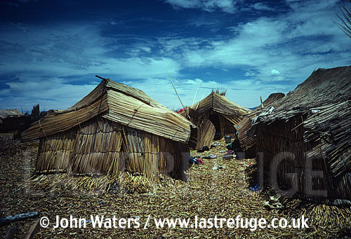 Floating reed village, Uru Indians, Lake Titicaca, Peru