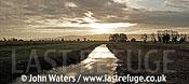 Panorama: Dawn, Kings Sedgemoor, Somerset Levels near Othery, Somerset, UK