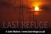 Power lines, Somerset, UK