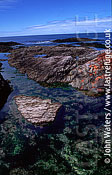 Coastal tidal pools and channels : scenic, coastal rock pools and channels, Punta Tombo, Patagonia, Argentina, South America