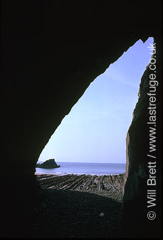 Shot looking out from cave on spekes mill beach