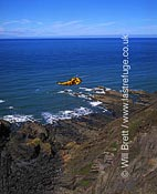 RAF Chivenor search and rescue helicopter on winch man training exercise at Warren Cliff, north of Hartland Quay. Taken 2 days before Boscastle flood where this helicopter flew several rescue missions