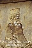 Bas relief of Persian official at the court of Darius I (the Great), on the monumental staircase leading to the apadana, 6th c b.c.. Persepolis, Fars Province, Iran