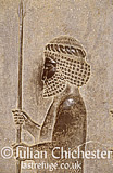 Bas relief of Persian soldier, on the monumental staircase leading to the apadana, 6th Century BC., Persepolis, Fars Province, Iran