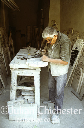 Tombstone carver in the Souk in the Old City in Damascus, Syria