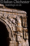 The Arch of Marcus Aurelius, Tripoli, Libya. Apollo in a chariot drawn by Sphinxes. Roman, 2nd Century
