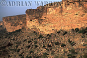 MALI: Escarpment at BANDIAGARA with DOGON settlements at base of cliffs