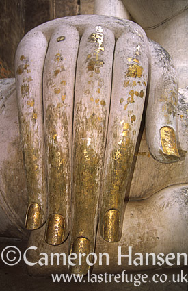 Buddha (close-up hand) at Wat Si Chum, Sukhothai Historical Park, Thailand