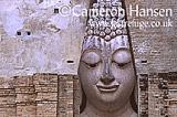 Buddha (close-up face) at Wat Si Chum, Sukhothai Historical Park, Thailand