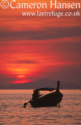 Long Boat at sun set, Kho Phi Phi, Andaman Sea, Thailand