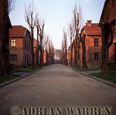 Auschwitz Nazi Death Camp: The accomodation blocks at Auschwitz I.