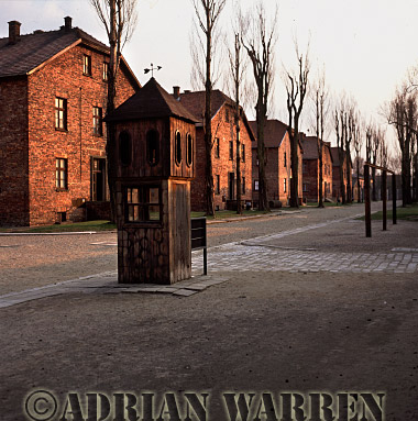 Auschwitz Nazi Death Camp: SS guard post by the central area where roll-calls were held. The structure on the right was used, on 19th July 1943, to publicly execute, by hanging, twelve Polish prisoners for assisting in the escape of three fellow prisoners.