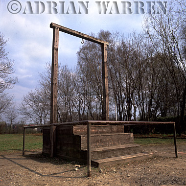 Auschwitz Nazi Death Camp: The Gallows used to hang the first commandant of Auschwitz, Rudolf Hoss, on 16th April 1947, outside the camp Gas Chamber and Crematorium, on the site where the Gestapo building stood.