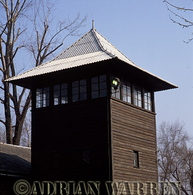 Auschwitz Nazi Death Camp: Guard watch tower and searchlight.