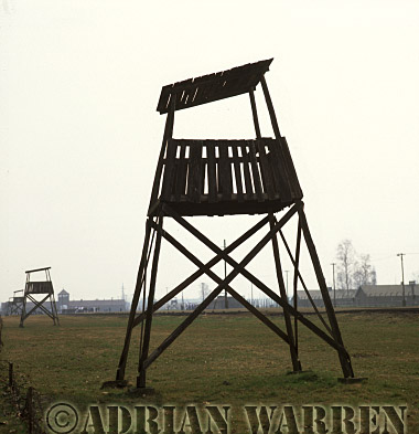 Auschwitz Nazi Death Camp: SS watch towers overlooking the railway siding where the selections of arriving prisoners took place.