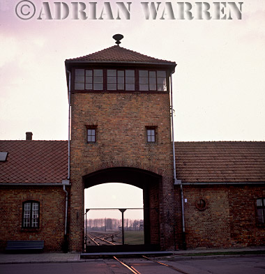 Auschwitz Nazi Death Camp: The main entrance to Auschwitz - Birkenau through which the freight trains from all over Europe would arrive carrying thousands of new victims for extermination.