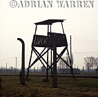 Auschwitz Nazi Death Camp: SS watch tower overlooking the railway siding where the selections of arriving prisoners took place.