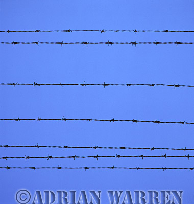 Auschwitz Nazi Death Camp: The electrified perimeter fence at Auschwitz II - Birkenau.