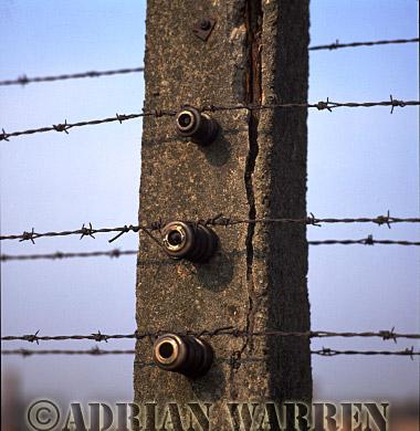 Auschwitz Nazi Death Camp: The electrified perimeter fence at Auschwitz II - Birkenau.