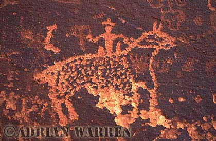 Man riding Horse ROCK ART - Petroglyph, Sand Island Recreation Area, San Juan River, Utah, USA