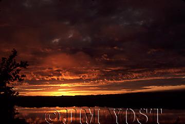 Waorani Indians: Sunrise over Lake Limoncocha, Limoncocha, 1974 , Ecuador