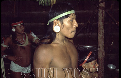 Waorani Indians: The balsa labrets are both a symbol of Waorani heritage and for beauty, Gabado, 1974, Ecuador