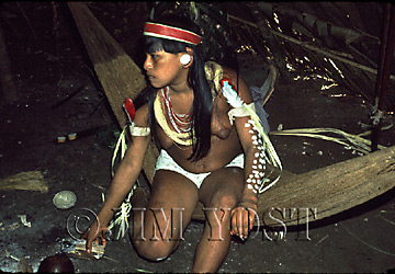 Waorani Indians: When clothing first became available, it was worn just for its beauty at fiestas, Gabado, 1974, Ecuador