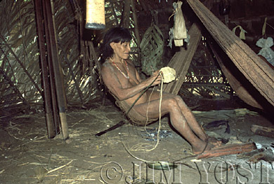 Waorani Indians: Chambira twine serves numerous purposes - eg. fishnets, hammocks, bags, kapok carriers, Gabado, 1975, Ecuador