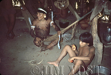 Waorani Indians: An aemae is opportunity for catching up on news from other villages, Gabado, 1974, Ecuador