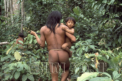 Waorani Indians: On trips longer than a couple of hours, youngsters are given a lift, Gabado, 1975, Ecuador
