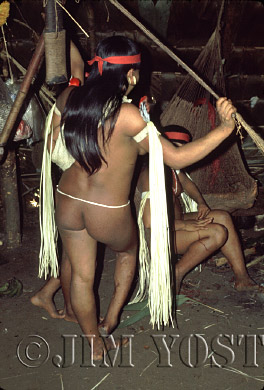 Waorani Indians: Traditional chambira leaves on armbands complement a trade ribbon, Gabado, 1974, Ecuador