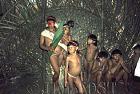 Waorani Indians: Visitors from Dicado show up at the Gabado aemae, Gabado, 1974, Ecuador