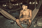 Waorani Indians: A warrior's hammock is his most important possession, Gabado, 1975, Ecuador