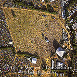 Aerial views of glastonbury festival 2003 and 2002