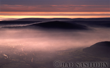 Brecon Beacons Nat. Park, Misty mountain range, South Wales