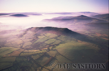 Brecon Beacons Nat. Park, Misty mountain range, South Wales