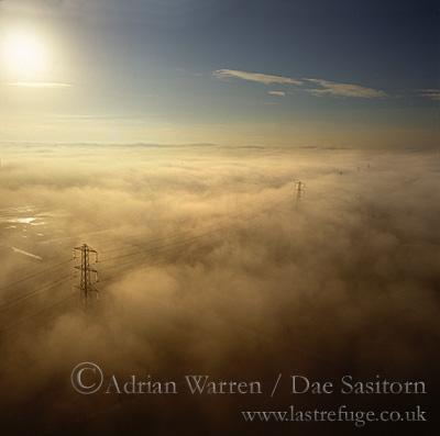 Fog over Somerset Levels, Somerset, England